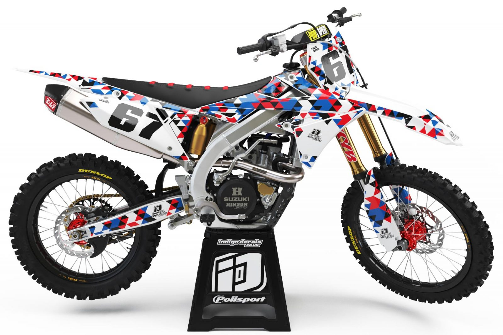 Suzuki RMZ - D4 - 2 - Custom Bike Decals, Graphics, UK, Indigo Decals